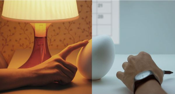 "The ""egg"" tilts if you tilt it; shows your other half is thinking about you!"
